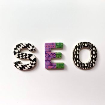 SEO letters on a white surface